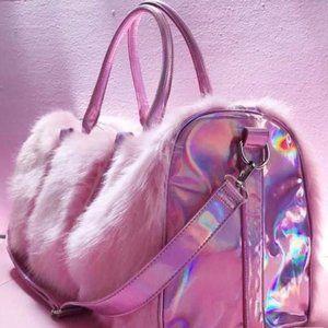 Pink Fur/Holographic Bag/Luggage
